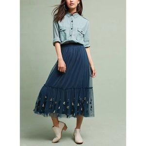 Anthropologie Maeve Tassel Midi Skirt Size Medium